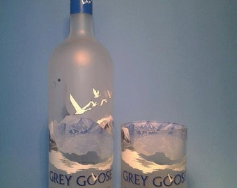 Grey Goose ® Tall Recycled Glasses ( Set of 4 ) Liquor Bottle Tumblers