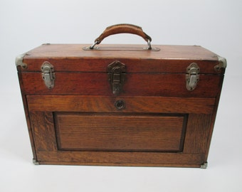 Vintage wood Machinist toolbox All new leather liner / chest / partially restored