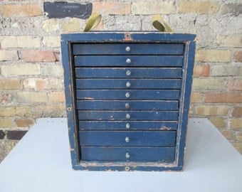 Vintage wooden industrial Machinist toolbox / tool chest