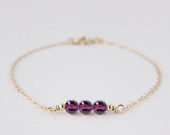 Gold Swarovski purple glass beeds Bracelet- 14k Gold Filled Dainty petite  gold jewelry- Small  glass beeds Bracelet- great gift