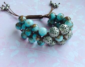 Sea Shamballa style bracelet, beaded bracelet