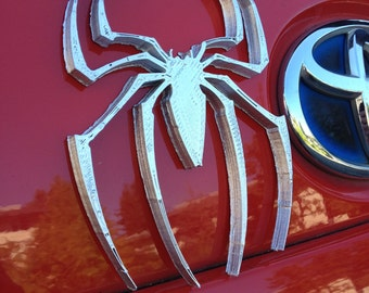 Fanart 3D printed silver Amazing Spider Man car decal/logo/magnet, great gift for nerd girl or boy