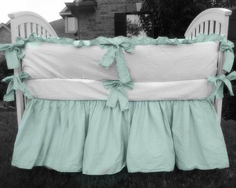 Custom crib bedding, 2 tone, white crib bumper, dove blue trim and sash ties, crib skirt, baby boy crib bedding, custom crib bedding