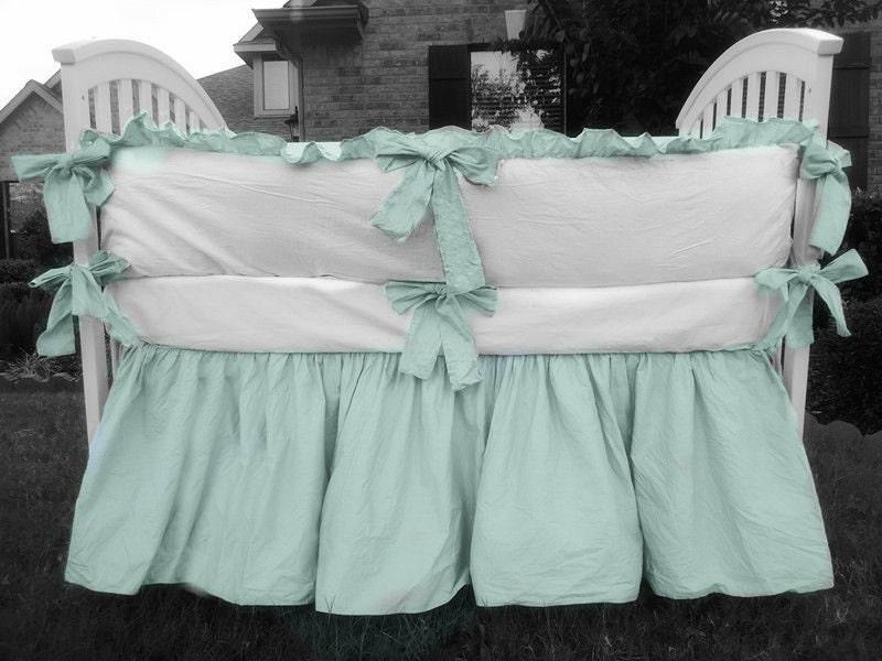 Custom Crib Bedding 2 Tone White Crib Bumper Dove Blue Trim