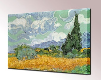 Vincent Van Gogh Painting - Wheat field with Cypresses Canvas Wall Art Print in 5 Sizes Ready Hang Decor