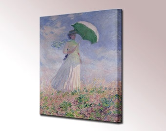 Monet Woman with Parasol Wall Decor Impressionism Home Decor Canvas Print Canvas Wall Art Print Ready To Hang