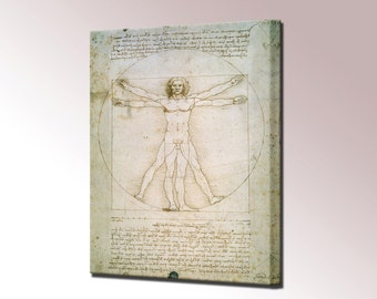 Vitruvian Man Da Vinci Canvas Wall Art Print Picture Proportions of Human Figure Ready to Hang