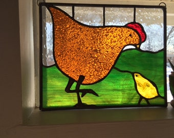 Hen & Chick stained glass panel