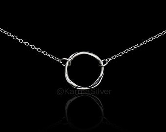 Sterling Silver Karma Ring Necklace