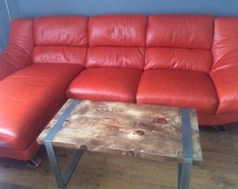 Reclaimed hardwood and steel coffee table