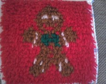 novelty gingerbread man latch hook rug