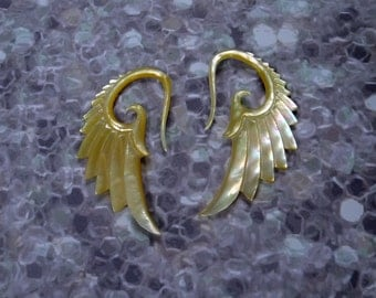 10 Gauge Wing Dangle Shell Earrings