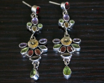 Shapely Topaz, Garnet, Peridot Silver Earrings