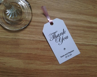 Personalised Wedding Circle Diamanté Thank-You Tags
