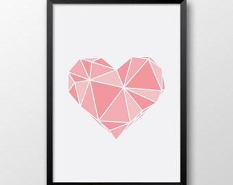 Coral Pink heart print, Geometric art, Printable heart, Home decor, Wall art 173