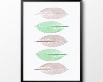 Green leaves print, Printable Wall art, Leaves print, Nature home decor, 204