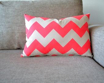 Cushion Cover Neon Pink Chevron Print Size 50cm x 35cm Handmade.