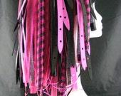 CYBER HAIR FALLS Neon Pink Cyberlox Dreads Goth Rave Black