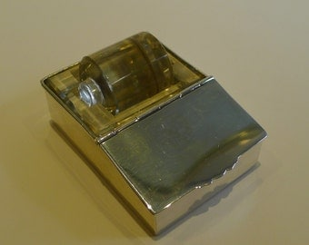 Rare Sterling Silver and Glass Combination Postage Stamp Box & Moistener by Deakin and Francis