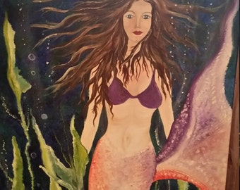 acrylic, original,18x24 fantasy mermaid, underwater, colorful, painting