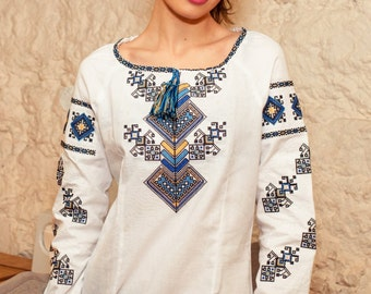 "Women Embroidered Shirt ""Tree of Life"" - long sleeve, cotton shirting 100%"