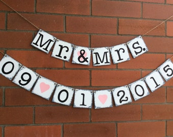 Wedding Banner. Mr. & Mrs. Banners. Chipboard Banner. Save The Date Sign. Rustic Wedding Decor. Shabby Chic Wedding. Photo Prop. Cardstock.