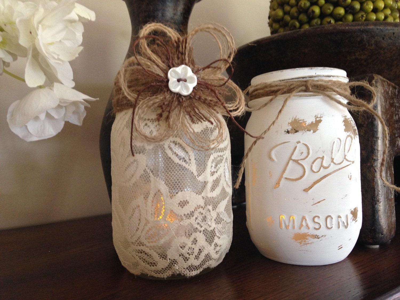 shabby chic mason jars wedding centerpieces lace candle zoom