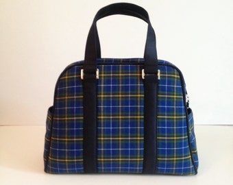 Vivian Retro style handbag - Gorgeous Nova Scotia Tartan and navy cotton sateen