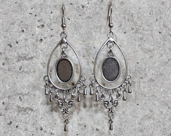 10 X 14 mm oval cabochon support silver dangling earrings