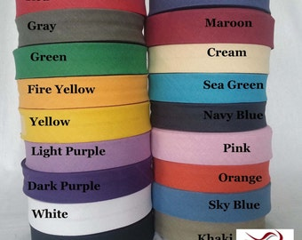 25mm (1 inch) Cotton Bias Binding Bunting Folded Tape 27 Yard Roll for Craft Sewing dress material Trimming Edging