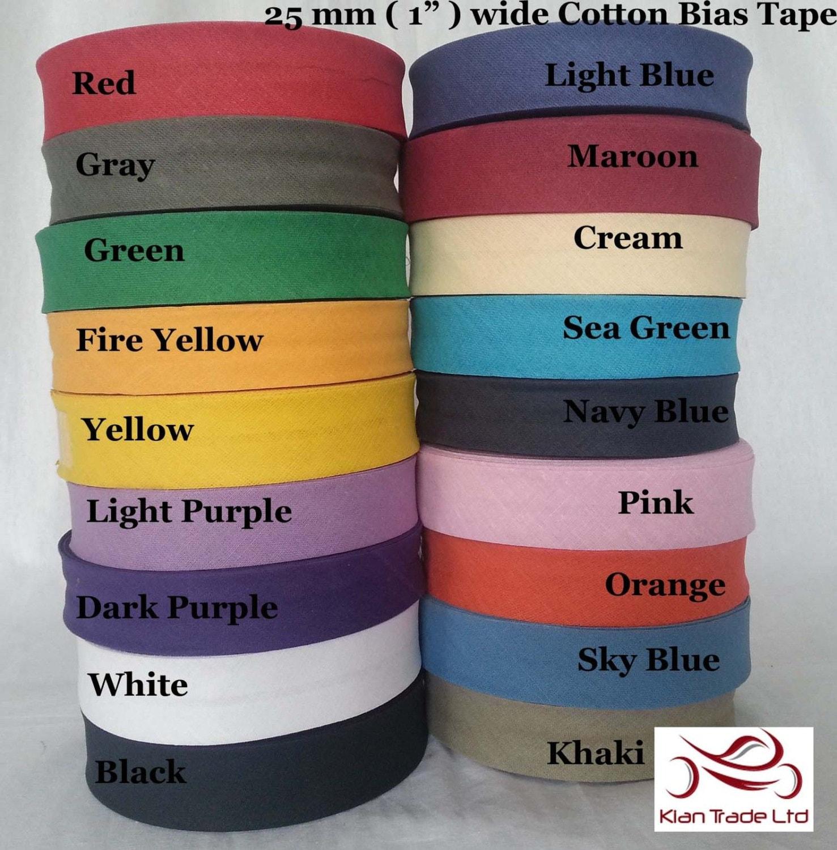 25mm 1 Inch Cotton Bias Binding Bunting Folded Tape 27 Yard