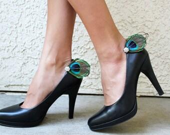 Peacock Shoe Clip Set, shoe clips, bridal clips, bridal shoe accessories, bridemaids shoe clips