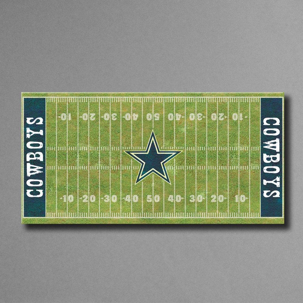 Dallas Cowboys Football Canvas Wall Art: Dallas Cowboys Football Field Canvas Art 12x24 By SportsCorner