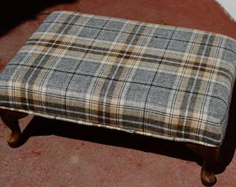 Large Footstool - Grey Balmoral Pewter Tartan Fabric