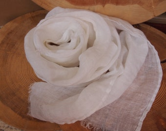 Linen Scarf, Eco Scarf, Natural Scarf, White Scarf