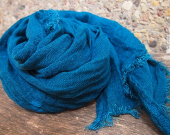 Dark Turquoise Linen Scarf, Eco Scarf, Natural Linen Scarf