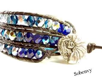 Triple Leather Wrap Bracelet, Blue Wrap Bracelet, Nautilus Mollusk in a Shell Button