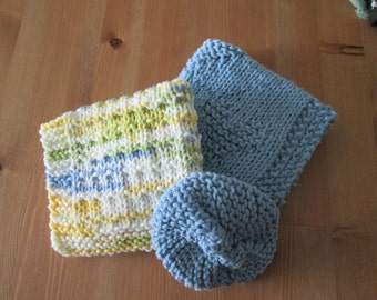 Hand Knitted Blue Dish Cloth Set with Two cloths and a scrubby