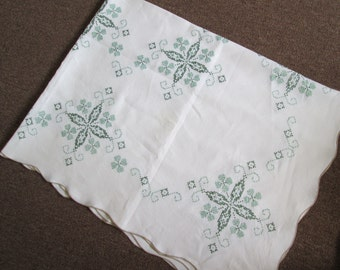 Vintage Hand Emboridered Cross Stitched Linen White Tablecloth