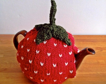 Knitted Strawberry Tea Cosy