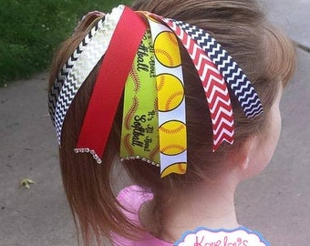 Softball Hair Bows,It's All About Softball Hair bow,Softball Ponytail Streamer, Red and Black Softball Ponytail Streamer.
