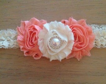 Peach and Ivory lace headband