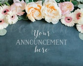 Bloom Wreath and Chalkboard Styled Photography, Mockup Photography, Announcement, Creatives, Weddings