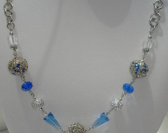 """Blue & Silver Beaded Necklace 26"""""""