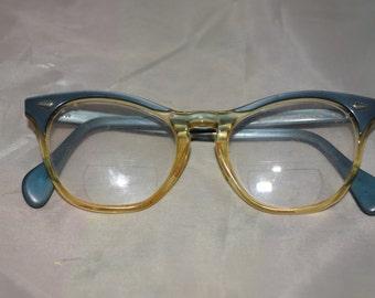 American Optical Women's Blue Horn-Rim Glasses