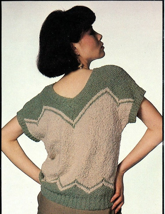 Summer Blouse Knitting Patterns : Pattern knitted summer blouse vintage short