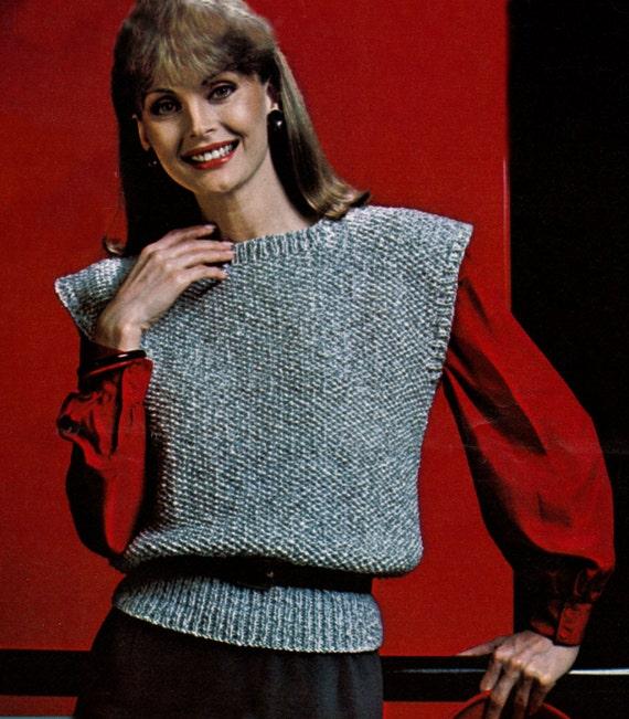 Knitting Pattern Sleeveless Pullover : knitted vest vintage sweater pattern sleeveless sweater