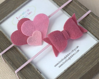 Pink Heart Headband & Felt Hair Bow Headband or Hair Clip Set; Newborn Baby Child Felt Heart Headband; Felt Bow Headband; Baby Shower Gift