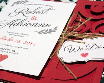 50 Wedding Invitations Red & White