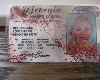 The Walking Dead [ Beth Greene ] Blood spatter Driver's License - B3F1F